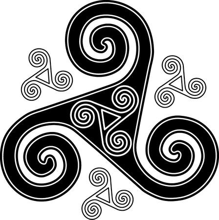 triskel: Black and white isloated vector celtic triskel symbol