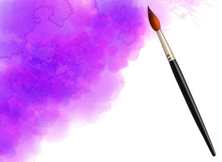 background purple: Purple vector watercolor cloud background with realistic paintbrush