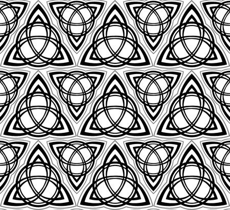 triskel: Black and white celtic triskels seamless pattern