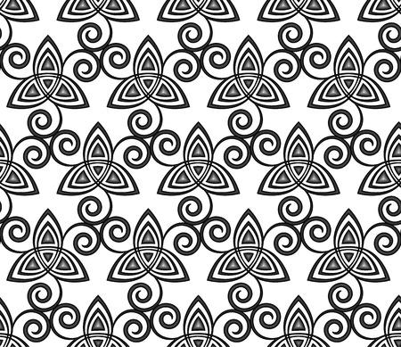 triskele: Black and white celtic triskels seamless pattern