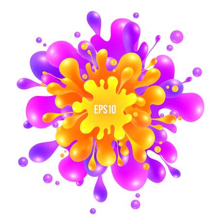 yellow orange: Pink, orange adn yellow vector paint splash on white background