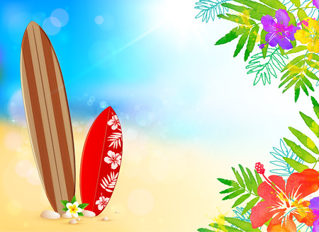 Surfing boards on the beach, vector background with watercolor tropic flowers frame