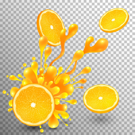 orange colour: Orange slice with juicy splash on transparent grid background Illustration