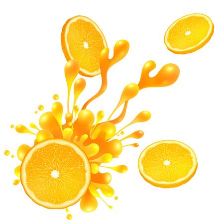 CITRICOS: Rodaja de naranja con splash de jugo aislado en el fondo blanco