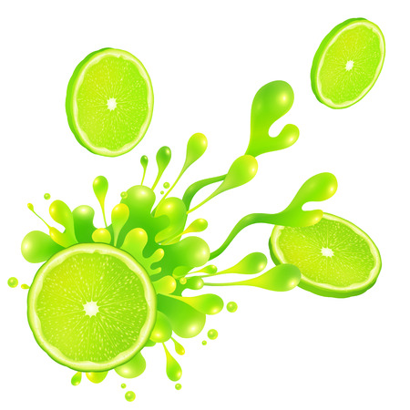 soda splash: Lime slice with juice splash isolated on white background