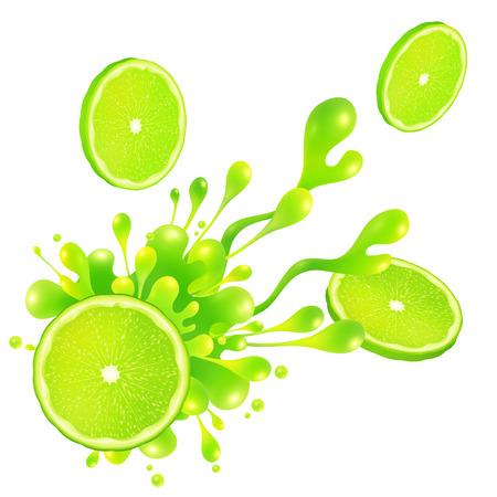 lime: Lime slice with juice splash isolated on white background