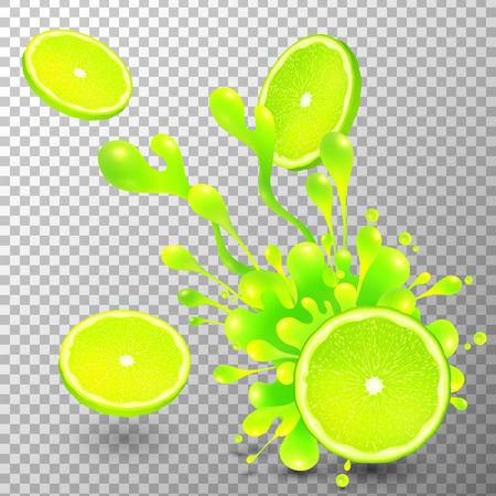 pouring: Lime slice with juice splash on transparent grid background Illustration