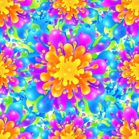 canlı renkli: Rainbow vivid color paint splash vector seamless pattern tile