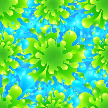 canlı renkli: Blue and green vivid color paint splash vector seamless pattern tile