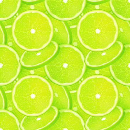lime: Green juicy lime slices vector seamless pattern