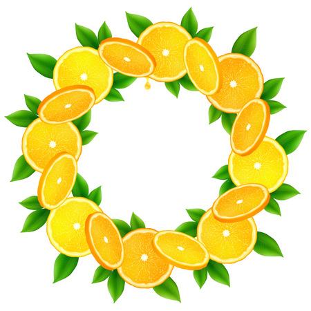 sliced fruit: Juicy orange slices with leaves vector round frame
