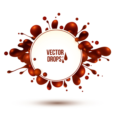 chocolate splash: Vector chocolate splash with round frame isolated on white background
