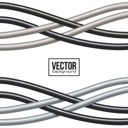 twisted: Black and gray cables vector abstract background Illustration