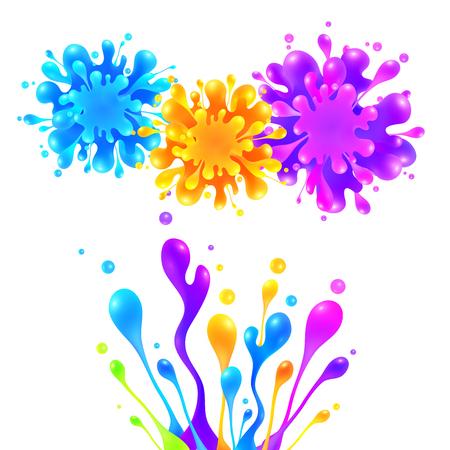 colors paint: Bright rainbow colors vector paint splash firework Illustration