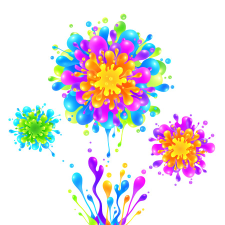 fireworks on white background: Bright rainbow colors vector paint splashes firework