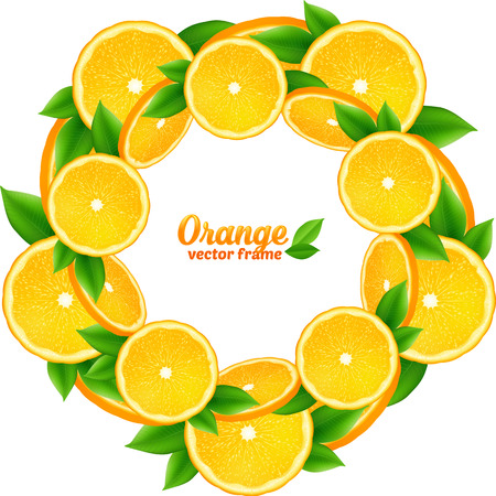 orange slices: Juicy orange slices with leaves vector round frame