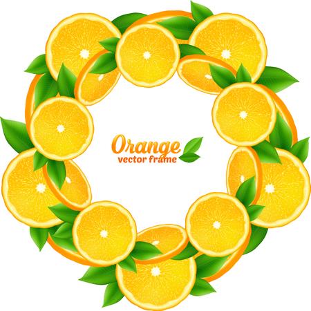 fruit orange: Jugosas rebanadas de naranja con hojas vector de marco redondo Vectores