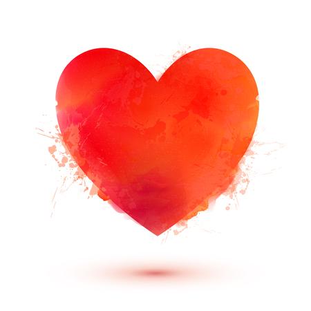 corazon: Brillante vector de estilo de acuarela Día de San Valentín corazón rojo aislado en fondo blanco