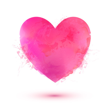 Pink vector Valentines Day heart in watercolor style isolated on white background Vectores
