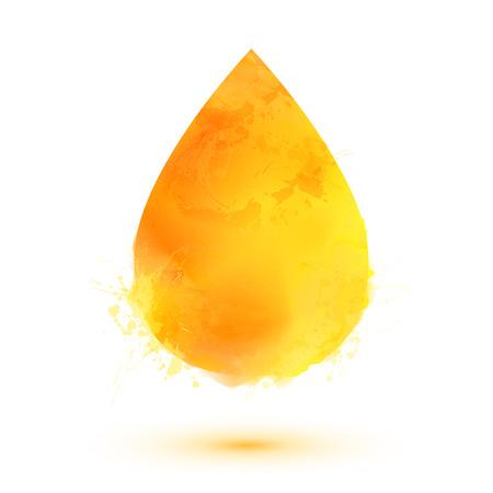 흰색 배경에 고립 된 노란색 수채화 벡터 오일 드롭 일러스트
