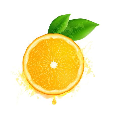 naranja: Vector rodaja de naranja con hojas y gotas de acuarela efecto aislado sobre fondo blanco