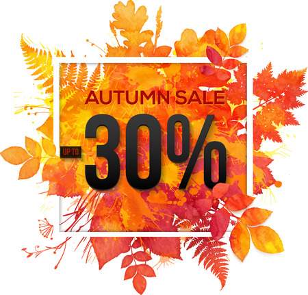 color splash: Autumn sale 30 percent discount vector banner with orange foliage in watercolor style
