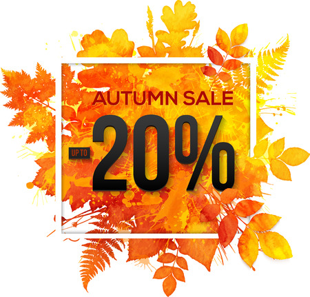 yellow background: Autumn sale 20 percent discount vector banner with orange foliage in watercolor style Stock Photo