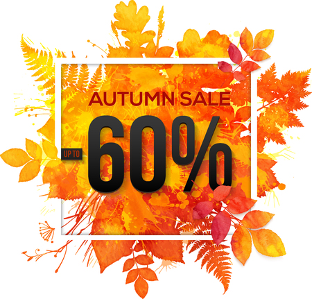 Autumn sale 60 percent discount vector banner with orange foliage in watercolor style