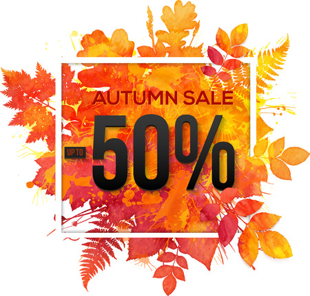 red label: Autumn sale 50 percent discount vector banner with orange foliage in watercolor style Illustration