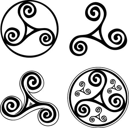 triskele: Black celtic triskels vector set isolated on white background