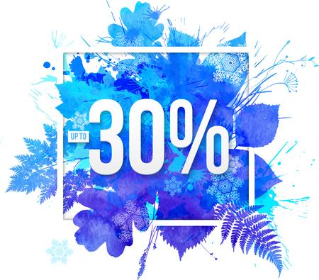water splash: Acuarela azul deja de vectores -30 por ciento Modelo de la bandera de descuento