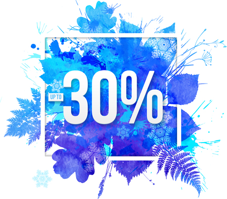 splash background: Blue watercolor leaves vector -30 percent discount banner template