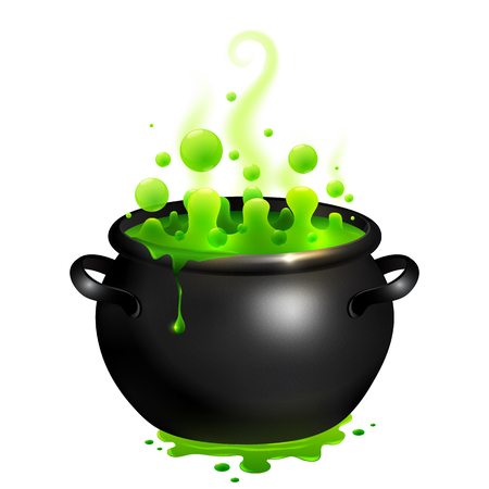 Black vector cauldron with green witches magic broth