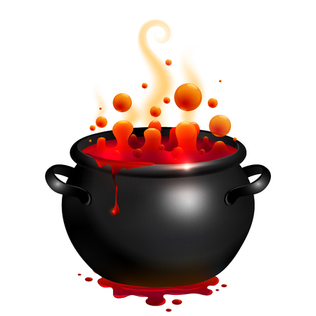 soup pot: Black vector cauldron with red witches magic potion Illustration