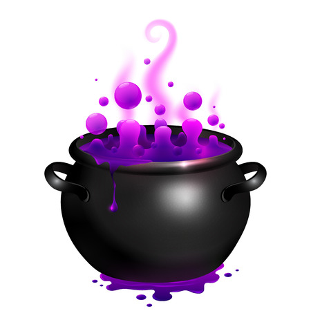 Black vector cauldron with purple witches magic broth Vectores