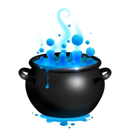 Zwarte vector ketel met blauwe heksen toverdrank
