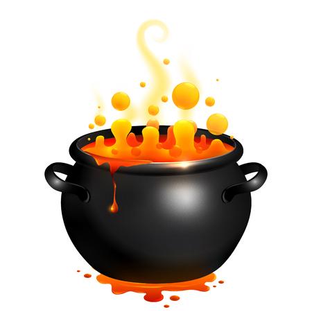 Black vector cauldron with orange witches magic potion Vectores