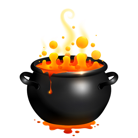 Black vector cauldron with orange witches magic potion Stock Illustratie