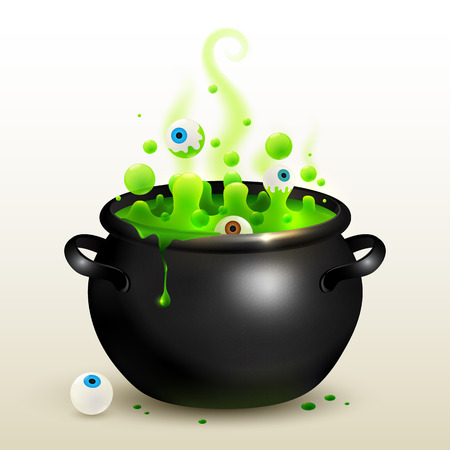 Vector black witches cauldron with green magic potion and eyes Illustration