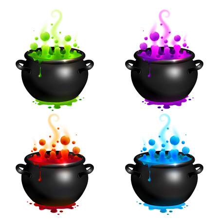 Black vector cauldrons set with colorful witches magic potion