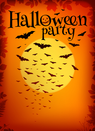 flying bats: Orange Halloween party background with flying bats and yellow moon