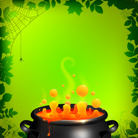 Orange potion in black cauldron on green background, Halloween vector card template