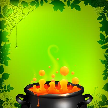 Orange potion in black cauldron on green background, Halloween vector card template