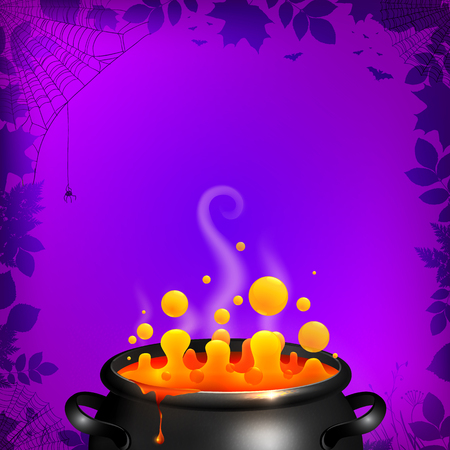 Yellow potion in black cauldron on orange background, Halloween vector card template