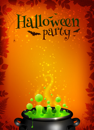spook: Orange vector Halloween poster template with green potion in black cauldron Illustration