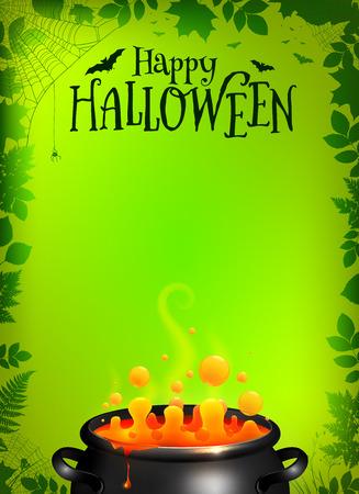Green vector Halloween poster sjabloon met oranje drankje in zwarte ketel