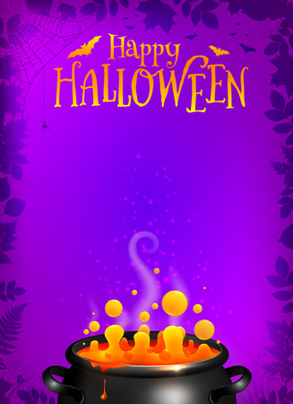 a3: Purple vector Halloween poster template with orange potion in black cauldron