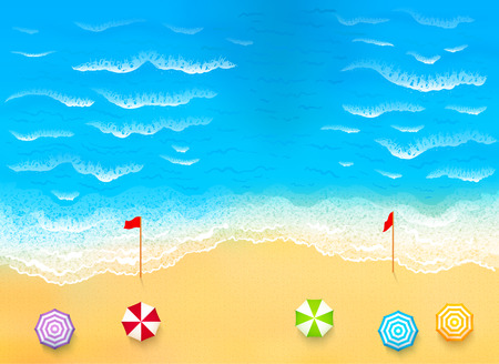 Beautiful beach with waves, rip current vector illustration Vectores