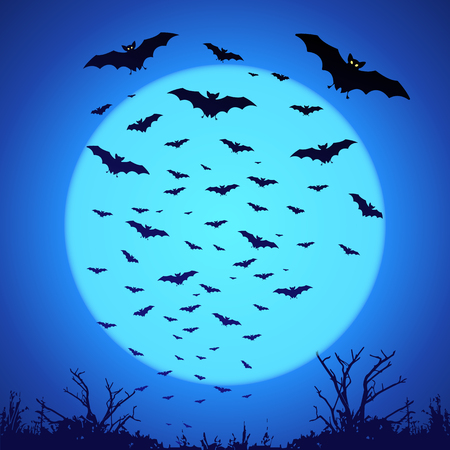bat: Black vector bats silhouettes on big blue moon at dark background