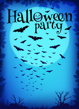 flying bats: Blue Halloween party vector background with flying bats and big moon